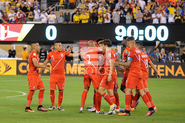 East Rutherford, NJ - Friday June 17, 2016: Peru  after a Copa America Centenario quarterfinal match between Peru (PER) vs Colombia (COL) at MetLife Stadium.