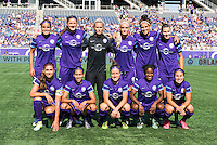 Orlando, Florida - Sunday, May 8, 2016: The starting XI for Orlando Pride during a National Women's Soccer League match between Orlando Pride and Seattle Reign FC at Camping World Stadium.