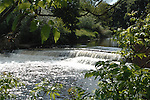Wier on river Swale, Topcliffe,  North Yorkshire,England.