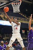 Washington, DC - December 22, 2018: Richmond Spiders forward Nathan Cayo (4) makes a shot during the DC Hoops Fest between Hampton and Howard at  Entertainment and Sports Arena in Washington, DC.   (Photo by Elliott Brown/Media Images International)