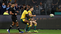 Nic White of the Wallabies celebrates scoring a try with Marika Koroibete during the Rugby Championship match between Australia and New Zealand at Optus Stadium in Perth, Australia on August 10, 2019 . Photo: Gary Day / Frozen In Motion
