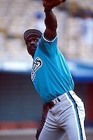 Andre Dawson of the Florida Marlins at Dodger Stadium in Los Angeles,California during the 1996 season. (Larry Goren/Four Seam Images)