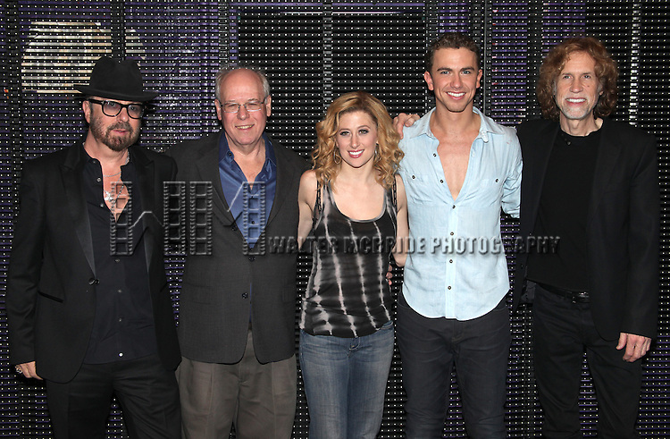 Dave Stewart, Bruce Joel Rubin, Caissie Levy, Richard Fleeshman and Glen Ballard.Backstage after the First Broadway Preview Performance of 'GHOST' at The Lunt-Fontanne Theatre New York City on 3/15/2012.