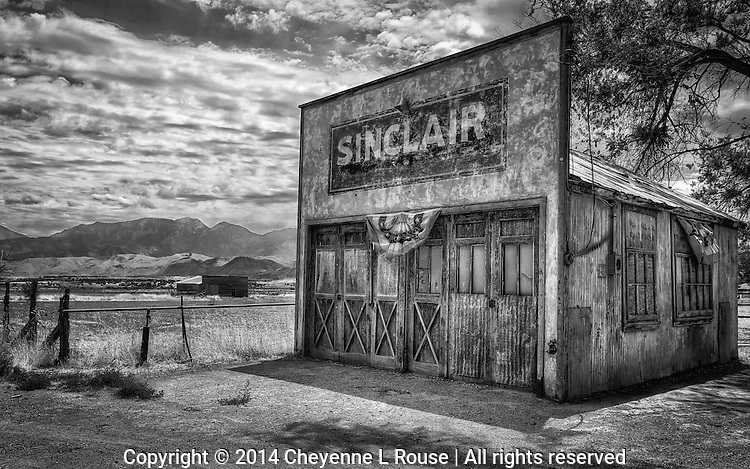 Small Town Americana - Utah (B&W)Old Sinclair Gas Station