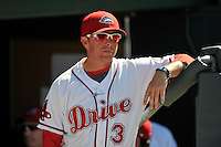 Manager Darren Fenster (3) of the Greenville Drive in a game against the Columbia Fireflies on Sunday, April 24, 2016, at Fluor Field at the West End in Greenville, South Carolina. Greenville won, 5-1. (Tom Priddy/Four Seam Images)