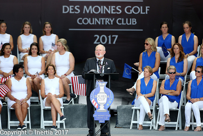 DES MOINES, IA - AUGUST 17: John Solheim addresses the crowd during the opening ceremony at the 2017 Solheim Cup in Des Moines, IA. (Photo by Dave Eggen/Inertia)