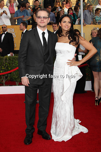 LOS ANGELES, CA - JANUARY 18: Matt Damon, Luciana Barroso attending the 2014 SAG Awards in Los Angeles, California on January 18, 2014.<br /> Credit: RTNUPA/MediaPunch<br />