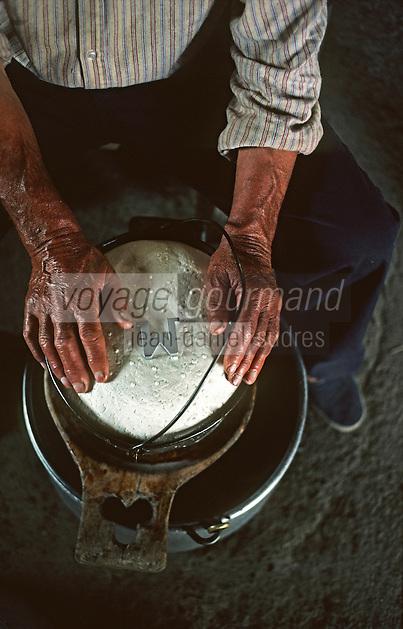 Europe/France/Aquitaine/64/Pyrénées-Atlantiques/Pic du midi d'Ossau: Préparation en estive du fromage d'Iraty-Ossau par le berger qui appose sa marque