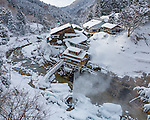 Jigokudani, Nagano Prefecture, Japan<br /> Joshin-Etsu National Park, Jigokudani (Hell's Valley) onsen hot spring spa on the Yokoyu river in winter
