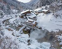 Jigokudani, Nagano Prefecture, Japan<br /> Joshin-Etsu National Park, Jigokudani (Hell's Valley) onsen hot spring spa on the Yokoyu river in winter