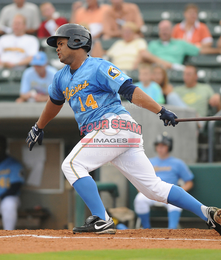 Outfielder Gerry Rodriguez (14) of the Myrtle Beach Pelicans at a game against the Potomac Nationals on Aug. 7, 2010, at BB&T Coastal Field in Myrtle Beach, S.C. Photo by: Tom Priddy/Four Seam Images