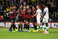 AFC Bournemouth players congratulate goalscorer Junior Stanislas of AFC Bournemouth as Ivo Pinto of Norwich City and Alexander Tettey of Norwich City look dejected during AFC Bournemouth vs Norwich City, Caraboa Cup Football at the Vitality Stadium on 30th October 2018