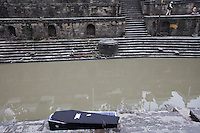 An empty coffin at Pashupati Nath temple in Kathmandu, Nepal