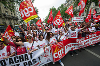 Macron's reforms: Civil service strikers & students protest. Paris 22-5-18