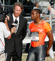 Darvis Patton being interviewed by Dwight Stones after his  victory in the 100m at the Adidas Track Classic 2009 on Saturday, May 16, 2009. Photo by Errol Anderson,The Sporting Image.net