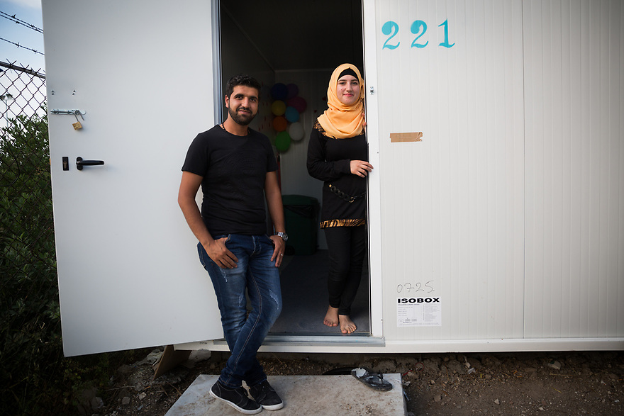 Syrian teacher Iman Karabilo and her husband Tharwat Hamode at Kara Tepe Site on the Greek island of Lesvos, where hundreds of refugees are accommodated as they wait to their procedure.