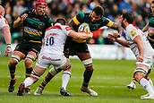 9th September 2017, Franklins Gardens, Northampton, England; Aviva Premiership Rugby, Northampton Saints versus Leicester Tigers;  Courtney Lawes of Northampton Saints is tackled by Dominic Ryan and Dom Barrow of Leicester Tigers