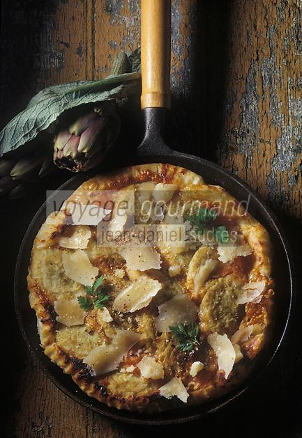 Gastronomie générale / Cuisine générale : Tarte tatin aux fonds d'artichaut et parmesan