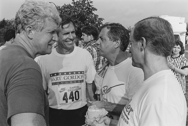 Rep. Jim Molan, Rep. Bart Gordon, D-Tenn., Rep. Larry LaRocco, D-Idaho, and Rep. Mike Kreidler, D-Wash., after the race. Rep. Bart Gordon was the first member across the line on Sep. 15, 1993. (Photo by Chris Martin/CQ Roll Call via Getty Images)