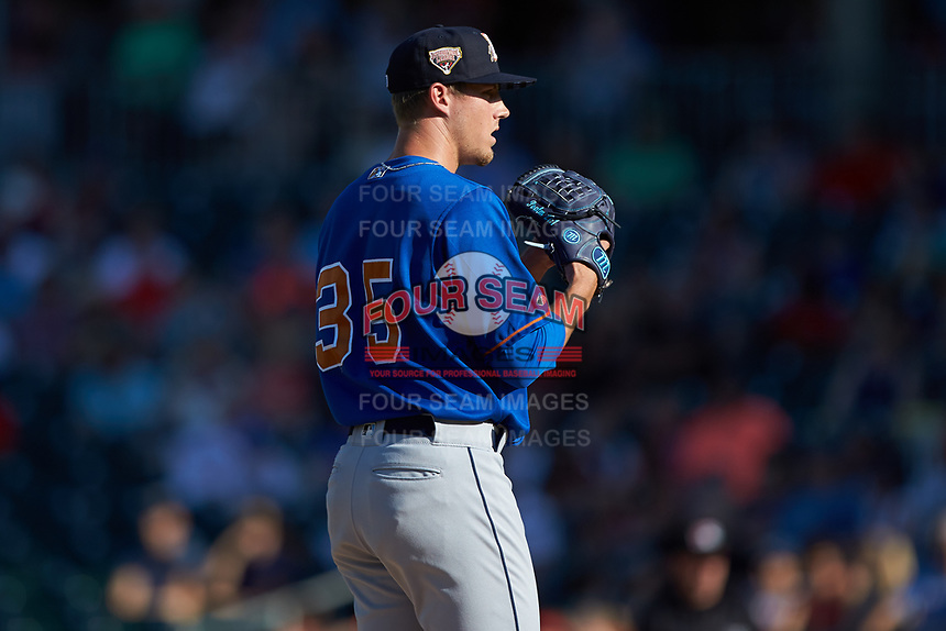 Durham Bulls starting pitcher Kyle Bird (35) looks to his catcher for the sign against the Charlotte Knights at BB&T BallPark on July 4, 2018 in Charlotte, North Carolina. The Knights defeated the Bulls 4-2.  (Brian Westerholt/Four Seam Images)