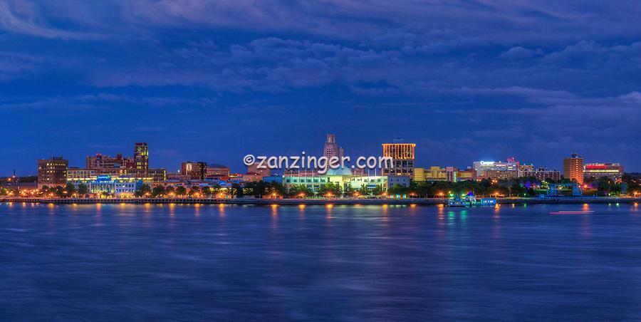 Camden NJ from  Philadelphia, PA, Delaware River, Susquehanna Bank, Adventure Aquarium, Battleship New Jersey, Waterfront, Dusk, Night, Lights beautiful