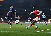 2nd November 2017, Emirates Stadium, London, England; UEFA Europa League group stage, Arsenal versus Red Star Belgrade; Edward Nketiah of Arsenal crossing the ball over Filip Stojkovic of Red Star Belgrade