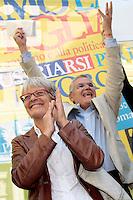 Il neo segretario aggiunto della CISL Annamaria Furlan con Giuseppe Farina segretario della FIM cisl<br /> Roma 30-09-2014 Manifestazione dei metalmeccanici della Fim Cisl davanti a Montecitorio.<br /> Photo Samantha Zucchi Insidefoto