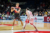 9th February 2018, Aleksandar Nikolic Hall, Belgrade, Serbia; Euroleague Basketball, Crvenz Zvezda mts Belgrade versus AX Armani Exchange Olimpia Milan; Forward Mindaugas Kuzminskas of AX Armani Exchange Olimpia Milan in action against Guard Taylor Rochestie of Crvena Zvezda mts Belgrade
