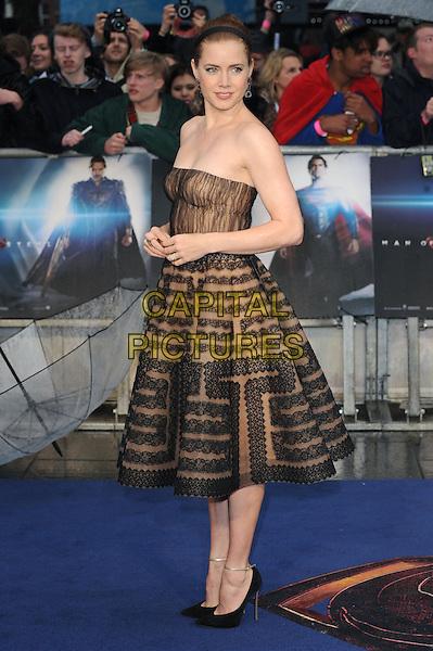 Amy Adams <br /> 'Man Of Steel' UK film premiere, Empire cinema, Leicester Square, London, England.<br /> 12th June 2013<br /> full length beige black strapless dress pattern alice band brown lace side <br /> CAP/BEL<br /> &copy;Tom Belcher/Capital Pictures