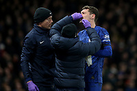 Andreas Christensen of Chelsea receives treatment for a facial injury during Chelsea vs Manchester United, Premier League Football at Stamford Bridge on 17th February 2020
