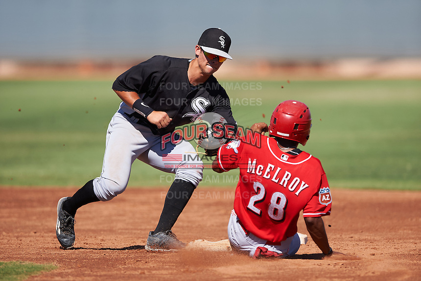 Chicago White Sox Mitch Roman (6) tags Satchel McElroy (28) sliding into second base during an Instructional League game against the Cincinnati Reds on October 11, 2016 at the Cincinnati Reds Player Development Complex in Goodyear, Arizona.  (Mike Janes/Four Seam Images)