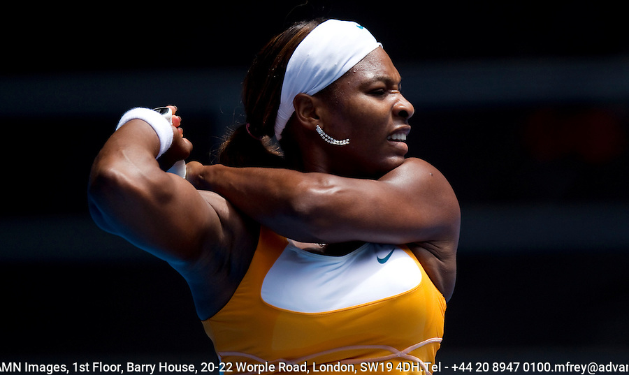 Serena Williams USA (1) against Carla Suarez Navarro (ESP) (32) in the Third Round of the Womens Singles. Williams beat Navarro 6-0 6-3..International Tennis - Australian Open Tennis - Saturday 23 Jan 2010 - Melbourne Park - Melbourne - Australia ..© Frey - AMN Images, 1st Floor, Barry House, 20-22 Worple Road, London, SW19 4DH.Tel - +44 20 8947 0100.mfrey@advantagemedianet.com