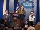 White House Spokesperson Sarah Sanders holds a news briefing with Marine Sergeant Liam Dwyer(left) and Marine Sergeant John Peck(right) at The White House in Washington, DC, March 5, 2018.<br /> Credit: Chris Kleponis / CNP