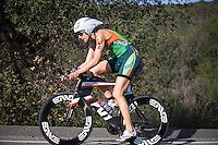 Heather Wurtele competes during the bike portion on her way to her win in the Accenture Ironman California 70.3 in Oceanside, CA on March 29, 2014.