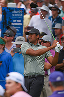 Tony Finau (USA) watches his tee shot on 3 during round 4 of the 2019 Charles Schwab Challenge, Colonial Country Club, Ft. Worth, Texas,  USA. 5/26/2019.<br /> Picture: Golffile | Ken Murray<br /> <br /> All photo usage must carry mandatory copyright credit (© Golffile | Ken Murray)