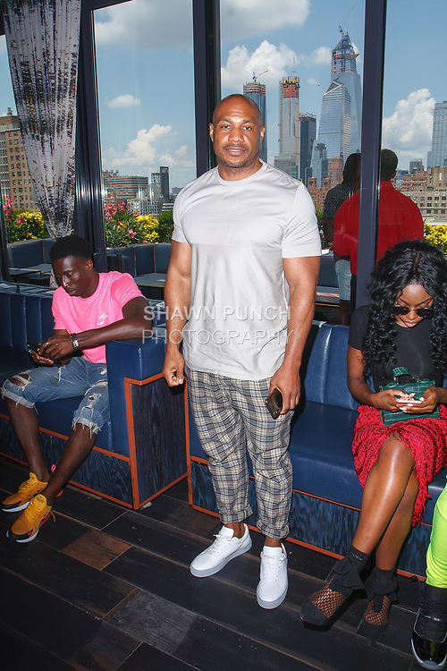 "Kareem ""Biggs"" Burke attends the Romeo Hunte Spring Summer 2019 collection runway show in PH-D at Dream Downtown New York City on July 11, 2018; during New York Fashion Week: Men's Spring Summer 2019."