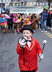 Sean Hannon of Tuamgraney NS is ring master for the day at the St Patrick's Day parade in Scariff. Photograph by John Kelly.