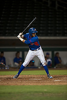 AZL Cubs first baseman Fidel Mejia (17) at bat during an Arizona League game against the AZL Brewers at Sloan Park on June 29, 2018 in Mesa, Arizona. The AZL Cubs 1 defeated the AZL Brewers 7-1. (Zachary Lucy/Four Seam Images)