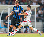 Davide Santon of FC Internazionale Milano (L) competes for the ball with Jose Mauri of AC Milan (R) during the AC Milan vs FC Internacionale as part of the International Champions Cup 2015 at the looks onnggang Stadium on July 25, 2015 in Shenzhen, China.  Photo by Aitor Alcalde / Power Sport Images