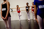 Alyssa Yayesaki, 8, (center) waits for her turn to audition for the Sacramento Ballet's Nutcracker production on Sunday, September 10, 2006. (Photo by Max Whittaker)