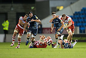 29th September 2017, AJ Bell Stadium, Salford, England; Aviva Premiership Rugby, Sale Sharks versus Gloucester; Gloucester Rugby's Gareth Denman makes a break