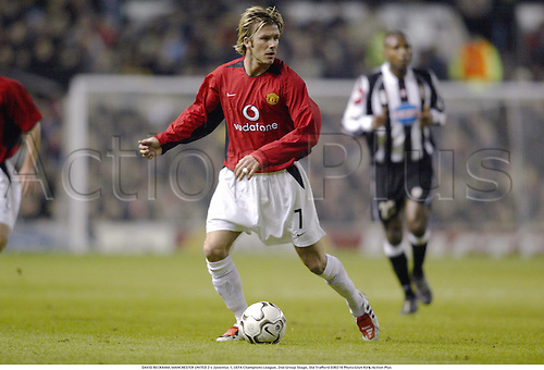DAVID BECKHAM, MANCHESTER UNITED 2 v Juventus 1, UEFA Champions League, 2nd Group Stage, Old Trafford 030219 Photo:Glyn Kirk/Action Plus...soccer football 2003.player premier man utd u.