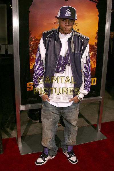 "CHRIS BROWN.""Stomp The Yard"" Los Angeles Premiere at Arclight Cinemas, Hollywood, California, USA, 8 January 2007..full length purple and white cap hat jacket top jeans trainers.CAP/ADM/BP.©Byron Purvis/AdMedia/Capital Pictures."