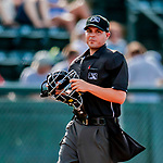 29 July 2018: MiLB Umpire Jose Lozada works home plate during a game between the Batavia Muckdogs and the Vermont Lake Monsters at Centennial Field in Burlington, Vermont. The Lake Monsters defeated the Muckdogs 4-1 in NY Penn League action. Mandatory Credit: Ed Wolfstein Photo *** RAW (NEF) Image File Available ***