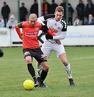 FC MANDEL UNITED IZEGEM INGELMUNSTER - RC GENT :<br /> Sam Blancke (R) zit Erwin Seignez (L) kort op de huid<br /> <br /> Foto VDB / Bart Vandenbroucke