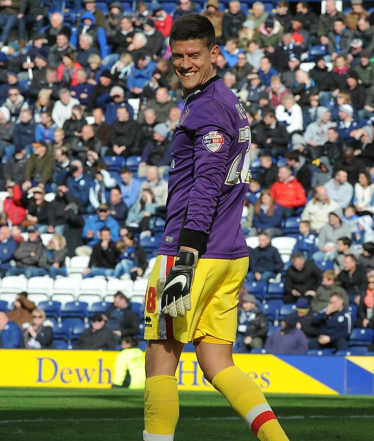 Milton Keynes Dons' Alex Revell smiles after he saved a late penalty after taking over goalkeeping duties after Cody Cropper was sent off<br /> <br /> Photographer Jo Gray/CameraSport<br /> <br /> Football - The Football League Sky Bet Championship - Preston North End v Milton Keynes Dons - Saturday 16th April 2016 - Deepdale - Preston<br /> <br /> &copy; CameraSport - 43 Linden Ave. Countesthorpe. Leicester. England. LE8 5PG - Tel: +44 (0) 116 277 4147 - admin@camerasport.com - www.camerasport.com