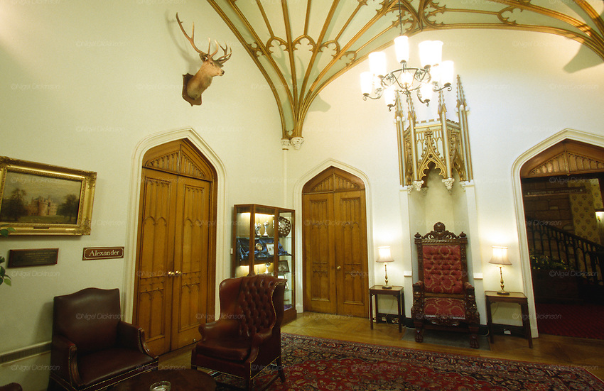 Vestibule of Dalhousie castle hotel. Dalhousie Castle, Bonnyrigg, Scotland. More than 800 years old, teenage Lady Catherine of Dalhousie was once deeply in love. Her parents however forbid her to see her young man. She then locked herself in the top room of the castle and starved herself to death. Legend has it that her lovelorn ghost roams the castle still to this day. Dalhousie Castle is now a renowned hotel, ironically a hotspot for lovers and newlyweds...Many of Scotland's castles are associated with ghosts, apparitions and strange noises. They have histories in some cases stretching back over 800 years. Some 150 Scottish castles are known to have this reputation. Apart from histories of murder, romance, and war, there were trials for witchcraft are recorded over several centuries. Fife county of Scotland is situated between the Firth of Tay and the Firth of Forth, with inland boundaries to Perth and Kinross and Clackmannanshire. It was originally one of the Pictish kingdoms, known as Fib, and is still commonly known as the Kingdom of Fife within Scotland.