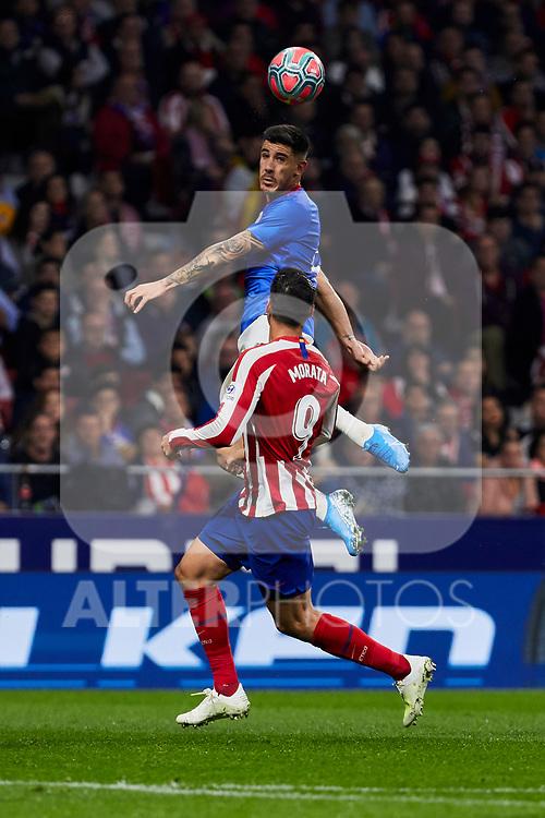 Alvaro Morata of Atletico de Madrid and Inigo Martinez of Athletic Club de Bilbao during the La Liga match between Atletico de Madrid and Athletic Club de Bilbao at Wanda Metropolitano Stadium in Madrid, Spain. October 26, 2019. (ALTERPHOTOS/A. Perez Meca)
