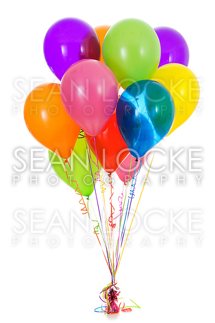 Isolated on white series of various balloon bouquets. Vibrant, bright colors.