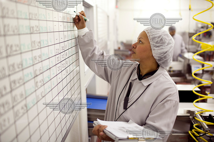 A worker, dressed in food hygiene workwear, at Greencore's Newburyport facility near Boston. Greencore Group is an Irish-based company that produces convenience foods and sandwiches throughout Britain and Europe. In 2008 Greencore acquired Home Made Brand Foods in Newburyport, Massachusetts to establish Greencore North America.